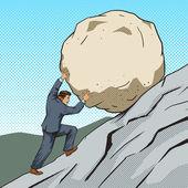 Businessman pushing a stone uphill pop art style vector illustration Human illustration Comic book style imitation Vintage retro style Conceptual illustration