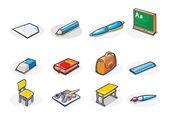 Vektorové ikony školní potřeby. Kreslený obrázek