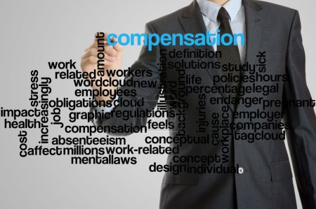 Business man with virtual interface of compensation wordcloud