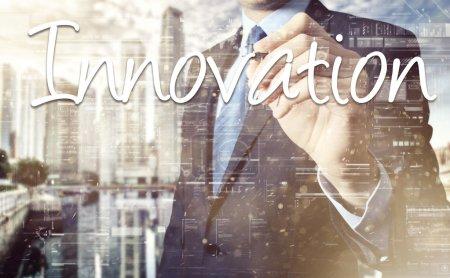 businessman write on transparent board Innovation