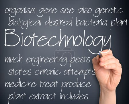 Word cloud concept illustration of biotechnology research handwr