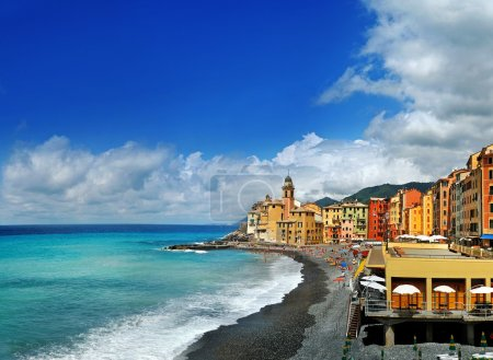 views on Beach of the resort town Camogli from above