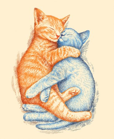 Photo pour Graver isolé chaton illustration croquis. art linéaire - image libre de droit