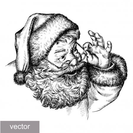 Illustration for Engrave isolated vector Santa Claus portrait illustration sketch. linear art - Royalty Free Image