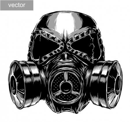 Illustration for Engrave isolated gas mask vector illustration sketch. linear art - Royalty Free Image
