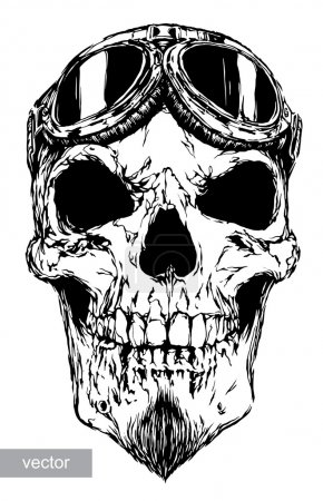 Illustration for Engrave isolated skull with beard on glasses pilot vector illustration sketch. linear art - Royalty Free Image
