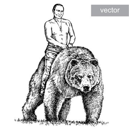 Illustration for March 16 2015: illustration of President Vladimir Putin portrait. Engraving sketch - Royalty Free Image