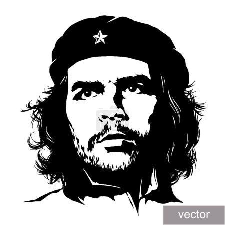 Illustration pour 22 juin 1956 : illustration du portrait du commandant Ernesto Che Guevara. Croquis de gravure - image libre de droit