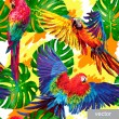 Постер, плакат: Pattern with tropical parrots and monstera leafs