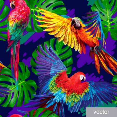 Illustration for Seamless summer pattern with tropical parrots and monstera leafs. Exotic textile. Vector. - Royalty Free Image