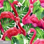 Pink flamingo, monstera leafs, palm leaf. Seamless...
