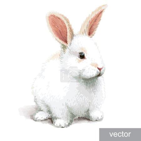 Illustration pour Petite illustration de lapin blanc réaliste de Pâques. Vecteur . - image libre de droit