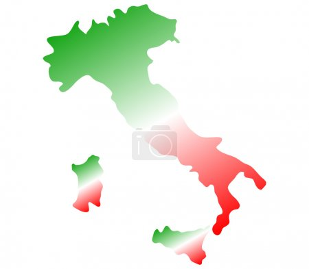 Map Italy on white background