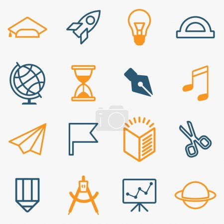 set lines education icons