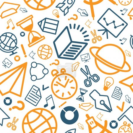 linear pattern education icons blue and orange