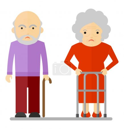 elderly couple sad