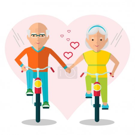 elderly couple on bicycles in love