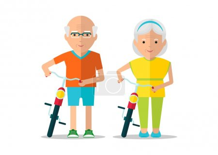 elderly couple walk with bicycles