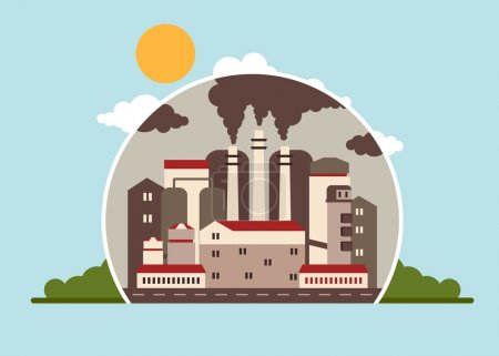 Illustration for Building industrial plants polluting the environment. Toxic waste from oil extraction. Earth Day. Ecology design concept with air, water and soil pollution. Flat icons isolated vector illustration. - Royalty Free Image