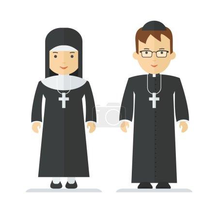 Illustration pour Prêtre catholique et religieuse. Objets isolés sur fond blanc. Illustration vectorielle dessin animé plat . - image libre de droit