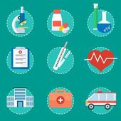 Medicine healthcare services concept Medical infographics elements Cartoon flat vector illustration Objects isolated on a white background