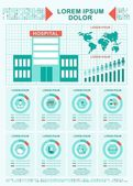 Improving care in hospitals World statistics Elements of infographics on medicine public health and service Objects isolated on white background Flat cartoon vector illustration