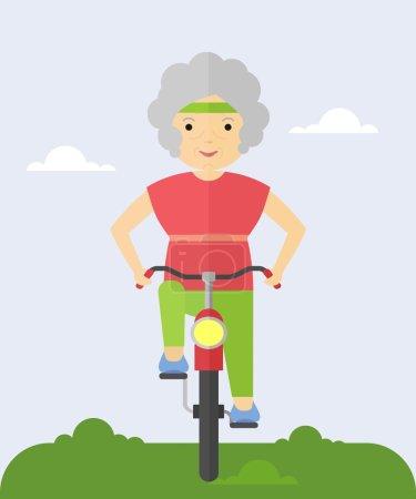 Illustration pour Une femme âgée fait du vélo. Faire du vélo dans le parc. Grand-mère heureux et joyeux. Illustration vectorielle plate de dessin animé . - image libre de droit