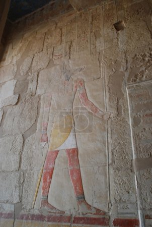 Relief depicting the God Anubis, the god of death and the afterlife. Hatshepsut Temple of Hatshepsut at Theban necropolis, Luxor neighborhood, Egypt.