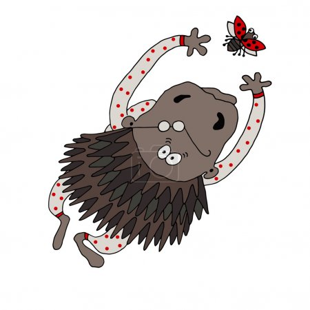 Vector drawing of a porcupine dressed in pajamas with polka dots trying to catch a ladybird