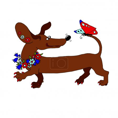 vector image dachshund with a wreath of flowers, which looks at