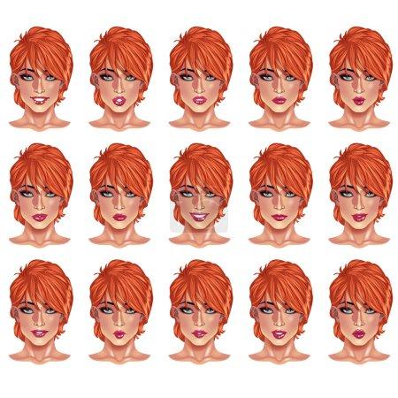 Illustration pour Ensemble de beaux portraits de femmes aux cheveux roux avec différentes lèvres et expressions du visage, du sourire au sérieux. Utilisez pour avatars, logos, personnages de jeux, icônes, signes, produits, décor web ou autre design - image libre de droit