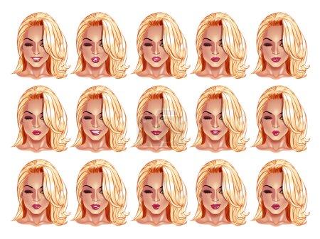 Illustration pour Ensemble de beaux portraits de femmes aux cheveux blonds avec différentes lèvres et expressions du visage, du sourire au sérieux. Utilisez pour avatars, logos, personnages de jeux, icônes, signes, décor web ou autre design . - image libre de droit