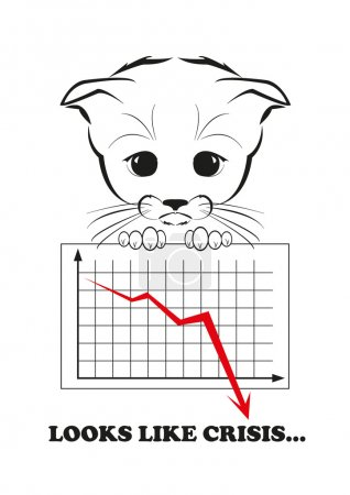 Illustration for Totono, saddest kitten in the world. He holds failing business diagramm with red downfalling graph. And all sadness of the world is in his eyes. Black vector illustration isolated on white background - Royalty Free Image