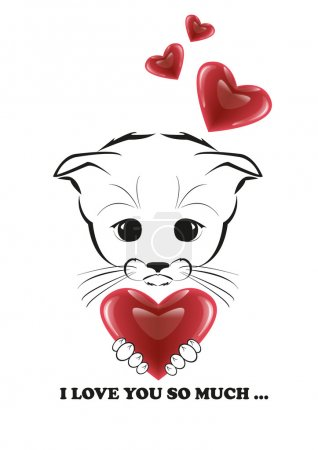 Illustration for Totono, saddest kitten in the world. He holds beautiful heart in his paws and he is full of love. Black vector illustration isolated on white background. - Royalty Free Image