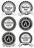 Set of beautiful round vintage barber shop badges