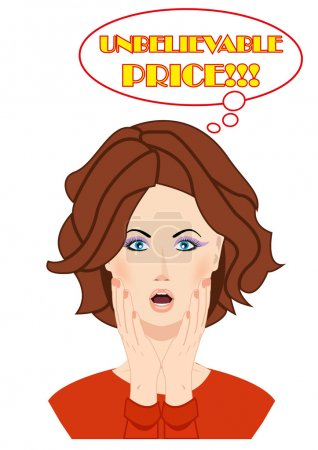 Illustration for Surprised beautiful woman face with open mouth and hands covering her face. UNBELIEVABLE PRICE bubble. WOW expression and look. Use for for print products, page and web decor or other design. - Royalty Free Image