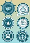 Set of beautiful colored yacht club and sea theme round badges isolated on gradient background Collection of elements for company logos print products page and web decor or other design