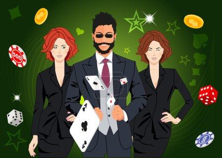 Confident lucky man throws aces