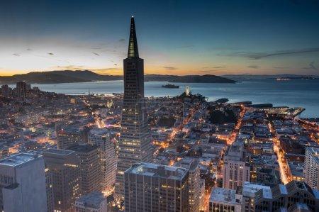Aerial Views of San Francisco Financial District and Bay at Dusk