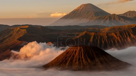 Volcano Bromo with fog and mist at sunrise