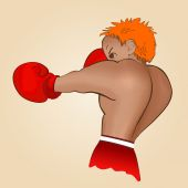 Young boxer trains on a light background  Colored isolated vector illustration for emblem label badge flier leaflet or etc Square location