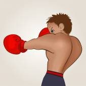 Young boxer in blue shorts trains on a light background Colored isolated vector illustration for emblem label badge flier leaflet or etc Square location