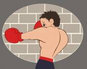 Young boxer in blue shorts trained against a brick wall Colored isolated vector illustration for emblem label badge flier leaflet or etc Horizontal location