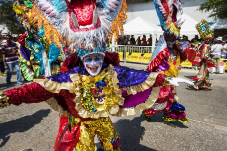 Photo for Barranquilla, Colombia - March 1, 2014: People at the carnival parades in the Carnival of Barranquilla, in Colombia. - Royalty Free Image