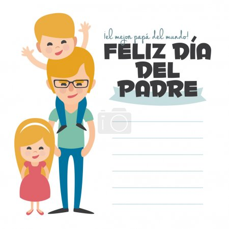 Illustration for Happy Fathers day card. Vector Element Set. Blond Dad with sons. Written in spanish - Royalty Free Image