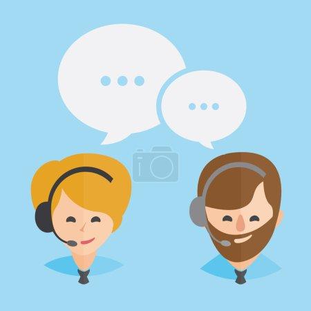 Illustration pour Opérateur de centre d'appels avec conception d'icônes Web pour écouteurs Services à la clientèle et communication, soutien à la clientèle, assistance téléphonique, informations, solutions. Femme blonde et homme barbu marron. Vecteur - image libre de droit