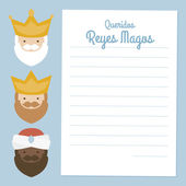 the three kings of orient. 3 magi. vectorized letter on a blue background. text: dear wise men