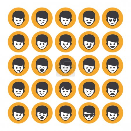 Illustration for Set of different emoticons vector, white and yellow people faces - Royalty Free Image