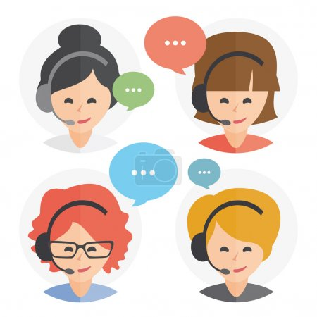 Opérateur de centre d'appel avec casque icône webdesign. Appel de femmes Centre avatar ensemble. Client services et communication, service clientèle, téléphone d'assistance, des informations, des solutions. Vector