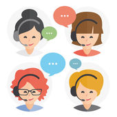 Call center operator with headset web icon design Female call center avatar set Client services and communication customer support phone assistance information solutions Vector